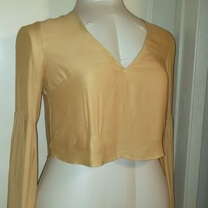F21 Gypsy Boho long sleeve gold crop blouse L